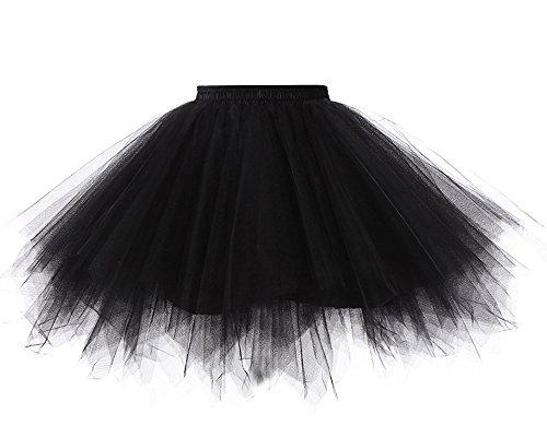 Imixcity Femmes Jupe de tulle Ballet Lache Tour de Taille Princesse Mariage Tutu Tulle Mesh Skirt 4 Couche Duveteux Tulle Genou-Robe Noir