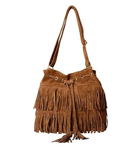 Minetom Fashion Fransen Damentasche Lady Hot Fringe Tassel Faux Suede Shoulder Messenger Umhängetasche Handtasche Taschen Schultertasche ( Braun )