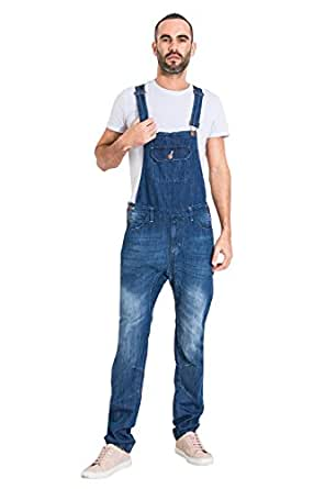 Uskees Slim Fit Mens Dungarees - Faded Indigo Denim Bib Overalls JESSE1NEWDARK Amazon.co.uk ...