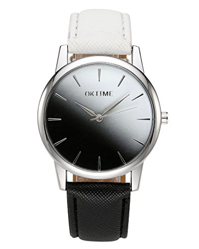 JSDDE Uhren,Fashion Cute Candy Farbe Damen Armbanduhr Weiß-Schwarz Farbverlauf Kleid Uhr PU Lederband Analog Quarz Uhr