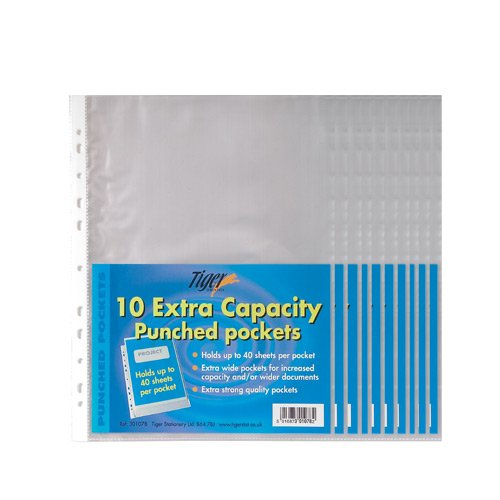 100-pack-of-a4-large-extra-capacity-strong-plastic-poly-punch-pockets-wallet-sleeves-clear-finish