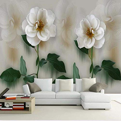 Pmrioe Weiße Rose Blume Wandbild Wandtattoo Wohnzimmer 3D Wandbild, 350X245 Cm (137.8 By 96.5 In)