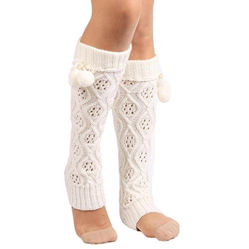 Yosemite Frauen Lady Knie Hohe Bein Socken Banket Winter Knit Wärmer Legging, weiß (Bein-wärmer Gestrickte)