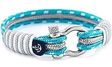 Handmade Unisex Nautical Bracelet by Constantin Nautics Made of Sailing Rope -LightBlue-Grey 20cm