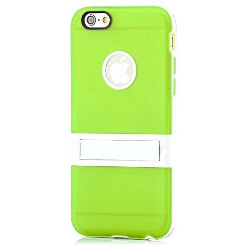 Saxonia Apple iPhone 6 Plus / 6S Plus Hülle Case Slim Silikon Schutzhülle Back Cover Silikonhülle mit Standfuß Transparent Grün