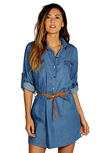 mittleres Blau - Ellie Denim Belted Button Front Shirt Dress - L (Shirt Button Dress Front)