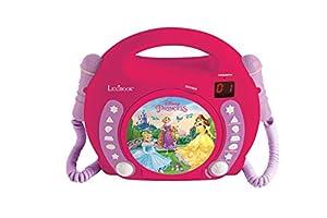 LEXIBOOK- Micros Princesas Disney-Lector CD portátil con 2 micrófonos, a Partir de 3 años RCDK100DP, 25.5 x 24.5 x 11.5 cm (