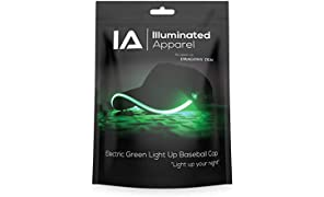 Illuminated Apparel Green LED Light Up Baseball Cap Hat Glow Party | Festival | Rave