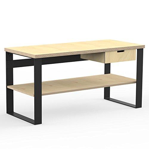 AUPROTEC Profi Design Werkbank 1500 x 750 x 850 mm Arbeitsplatte Multiplex 40mm mit 1 Schublade und Ablage Holz Werkbankplatte Multiplexplatte Industriequalität Massiv Arbeitstisch