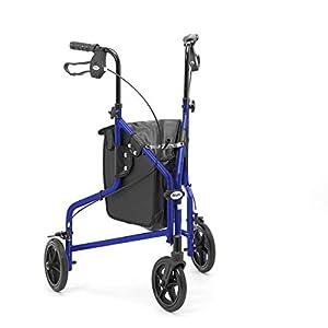 Days Leichte Aluminium-Klapp 3-Rad-Tri Walker mit Abschließbare Bremsen und Tragetasche, verstellbar in Höhe, Begrenzte Mobilitätshilfe, Blau mit Tasche,