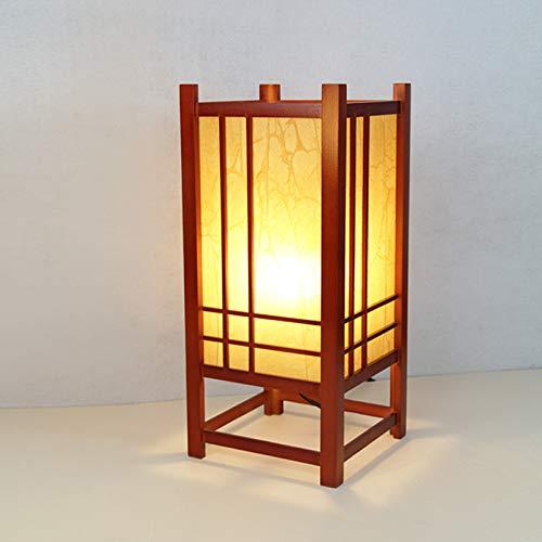 YU-K Lampe de table décorative en bois massif de style japonais avec lampe de chevet pour hôtel tatami, 19 * 19 * 43 cm, lumière de bouton, lumière chaude en acajou