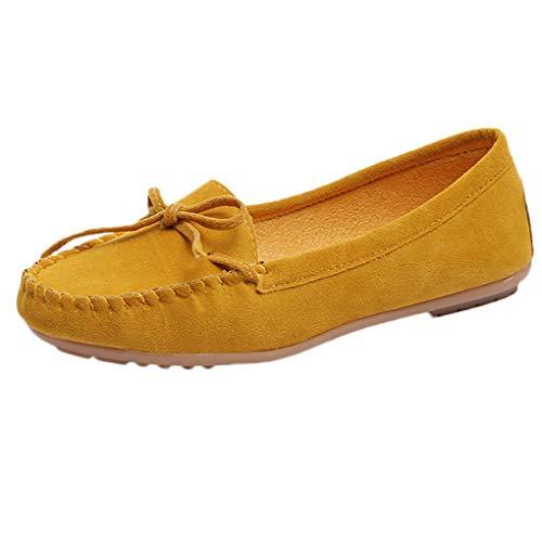 Große Größe Bootsschuhe für Mutter/Dorical Damen Mode Wildleder Mokassins Halbschuhe Schuhe,Frauen Komfort Pantoffeln Mit Krawatte Casual Slippers Gartenschuhe 35-43 EU(Gelb,37 EU)
