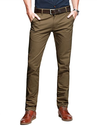 Match Herren Slim-Tapered Flat-Front Casual Hose #8025(8025 Dunkel khaki,32) (Khaki-hosen)