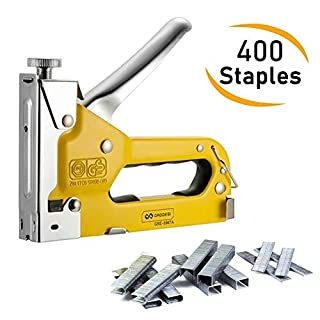 Staple Gun, VOKIT Heavy Duty 3 Way Stapler Tool Kit 3-in-1 Hand Operated Tacker with 400 Staples