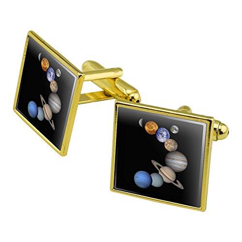 n Quecksilber Venus Mars Earth Moon Jupiter Saturn Uranus Neptune Manschettenknöpfe, quadratisch Set Gold Farbe (Gold Quecksilber)