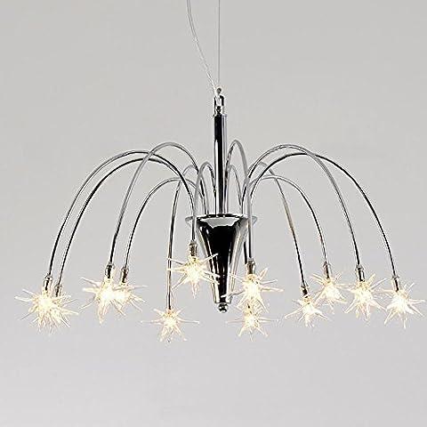 European Style Creative Chrome Plated Glass Snowflake LED Droplight 12 Licht Amerikanische Moderne Minimalist Warm Babysbreath Glas Kronleuchter Fixture