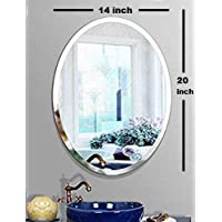 SEVEN HORSES Frameless Oval Bevelled Glass Wall Mirror for Dressing, Bedroom, Bathroom, Living Room, Entrance (14X 20 inches) White