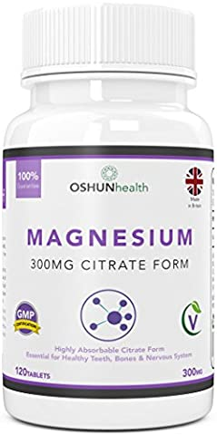 Magnesium Citrate Tablets | 300mg High Absorption Formula | Supplement for Healthy Teeth, Bones, Nervous System and Athletic Performance | 120 Tablets | OSHUNhealth | Limited Time Introductory Offer