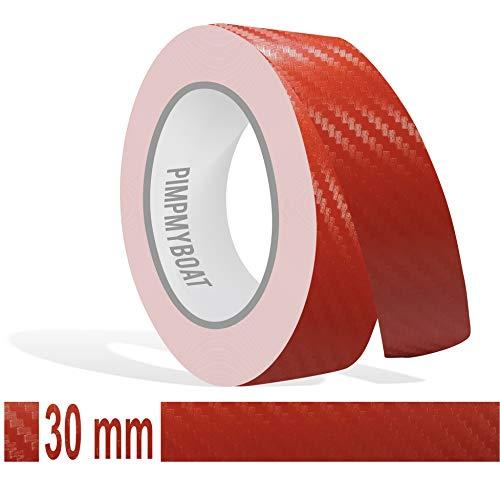 Siviwonder Zierstreifen rot Carbon in 30 mm Breite und 10 m Länge Folie für Auto Aufkleber Boot Jetski Modellbau Klebeband Dekorstreifen