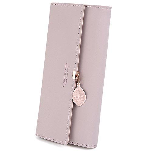 UTO Damen PU Leder Lange Brieftasche mit Blatt Anhänger Kartenhalter Handytasche Mädchen Reißverschluss Geldbörse Rosa