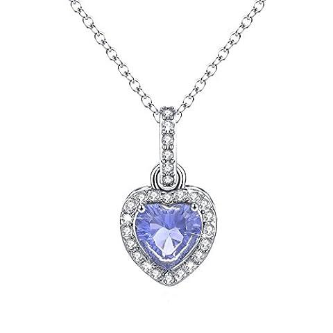 Heart Diamond Necklace Halo Sapphire Pendant Blue September Birthstone Jewelry Christmas Gift Women