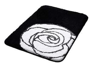 Tapis de bain 70x100 cm noir blanc modèle rose acrylique hauteur 20mm