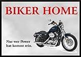INDIGOS UG - Achtung/Fun Schild - Biker-Motorrad Türschild A5 ca. 21x15 cm 3mm PVC - Türschild für Garage, Motorradclub, Carport, Parkplatz, Rocker