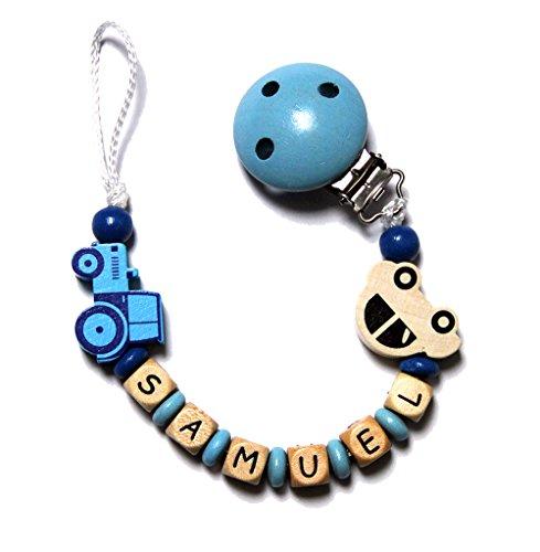 Baby Schnullerkette mit Perlen aus Holz und SAMUEL. Blau mit Traktor und Auto