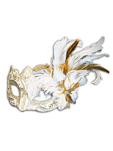 Venezianische Augenmaske Colombina Ombra Piume für Frauen (weiß)