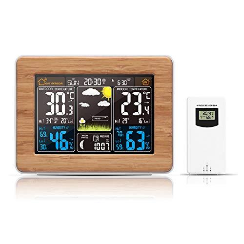 Smile Drahtloser Temperatur- und Feuchtigkeitsmonitor Holzmaserung Innenwetterstation Außensensor/Thermometer Hygrometer/Mondphase/Kalender/Snooze.2-Sets