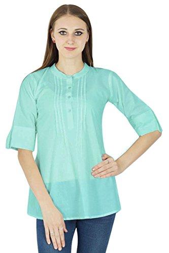 Boho Dress Top Wear Solide Casual Tunique Vêtements Pour Summer Aqua Bleu