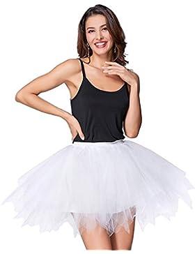 Faldas de Tulle Falda corta de Cancan de las mujeres Retro Falda Rockabilly Traje de Danza Ballet Tutu Pettiskirt...
