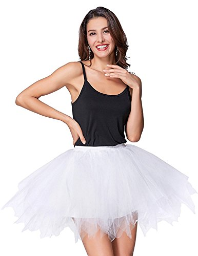 Mangotree Damen Retro Petticoat Kurz Rock Ballett Blase 50er Tüllrock Unterröcke 3 Layers Pettiskirt Unterkleid Tanzkleid (Weiß)