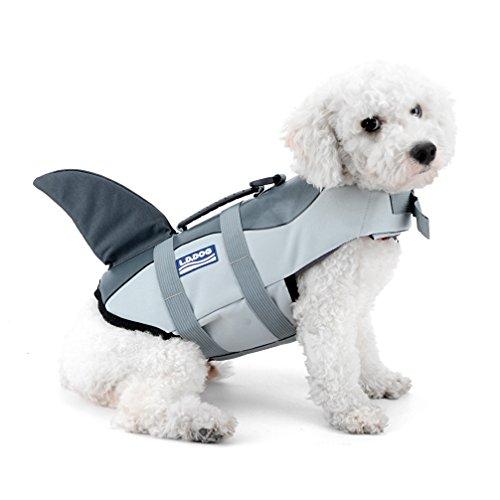 Katze Sommer Pet Life Vest Shark Stil life Jacke mit Griff Hund Schwimmen Training Kleidung Pool Beach (Adult Mini Pudel)