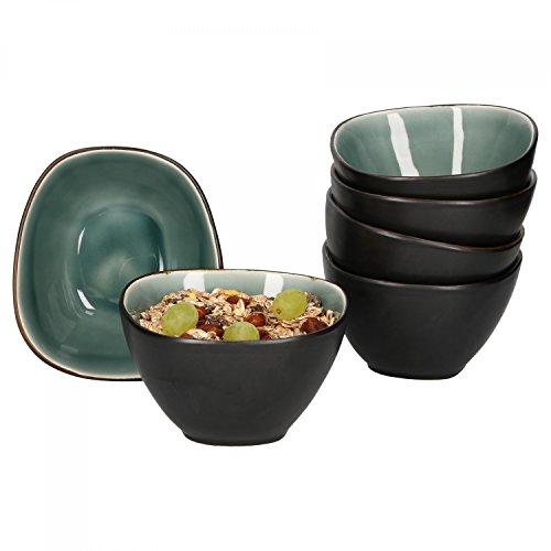 Van Well Elements 6-TLG. Müslischalen-Set | 650 ml | edle Geschirr-Kollektion | glasiertes Steingut | Kleine Salat-Schalen | Farbe:grün-schwarz Schwarz Schale