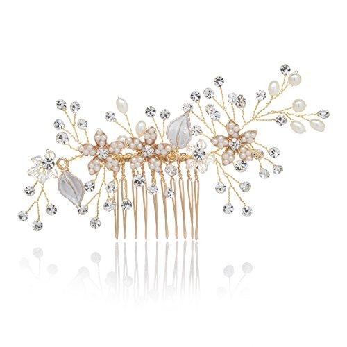 kamm Gold Strass Blume Clip Braut Haarschmuck für Brautjungfer Frauen ()