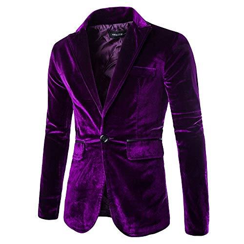 Sallydream- Traje de Vestir de Terciopelo Casual Hombre Slim Fit Estampados de Fiesta Elegantes Blazer...