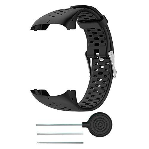 auto echo braccialetto per polar m400m430gps corsa smart watch con sport di 8colori in silicone cinturino orologio ricambio strap cinturino per polso per uomini donne, nero