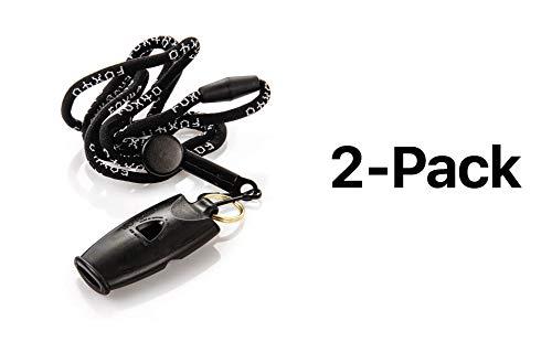 Fox 40 Micro Whistle Cordon-Safety Alert Rescue Referee Outdoor Noir (Pack de 2)