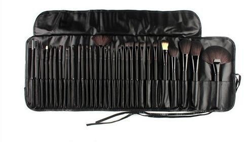 SF-World, set professionale composto da 32 pennelli da trucco Kabuki e spazzole cosmetiche, con custodia, colore: nero