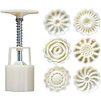 Healifty 1 lot de 50 g de moule à gâteau de lune 3D fleurs 3D pression manuelle moule à gâteau de lune moule avec…