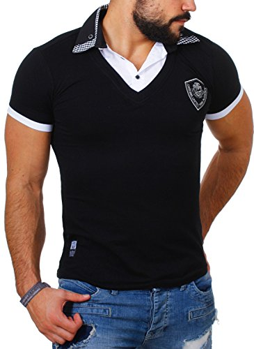 Carisma Herren 2in1 double Look T-Shirt mit Hemdkragen slimfit stretch Kontrast Optik Schwarz
