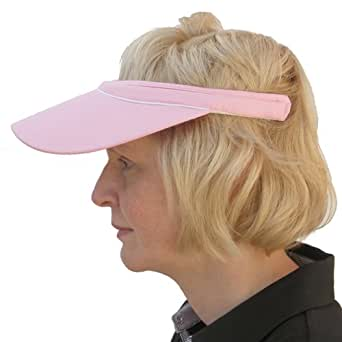 Piped Trim Mens & Ladies Unisex Push on Sports Sun Visor in Pink with White Trim
