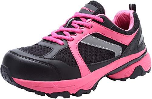 Scarpe Antinfortunistica Donna Leggere, LM8058 Sneaker da Lavoro Traspirante Punta in Acciaio Scarpe Antiscivolo(38 EU,Rosa)