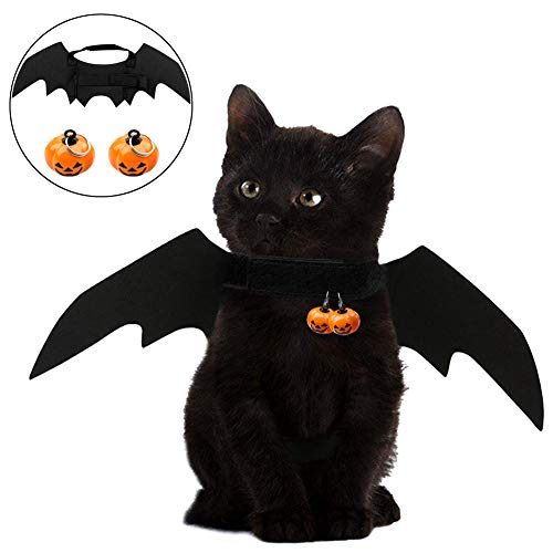 CCMART - Bate para Mascotas de Halloween, diseño de alas de Gato y Gato con 2 Campanas de Calabaza