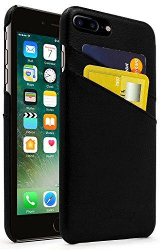 iPhone 7 Plus Fall, Bastex Premium Echt Leder Slim Fit Schwarz Snap auf Executive Brieftasche Karte Fall Cover für Apple iPhone 7 Plus -
