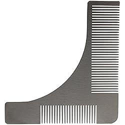 Andux Zone Peine de barba para hombre Barba de acero inoxidable que diseña la plantilla de molde Plata BXGSZ-01