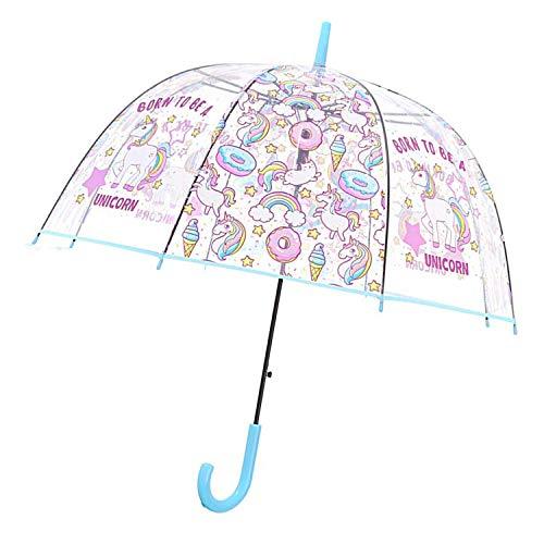 Unicornio Paraguas Transparente Forma Cúpula