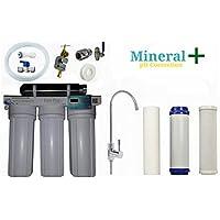 Eco-Pro+ Filtro de Agua con minerales+, Sistema integrado de 4 etapas con grifo y camára de mineralización, cartuchos y temporizador digital