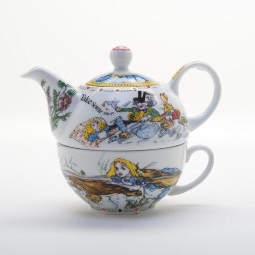 Alice im Wunderland Tee-Set für eine Person, Teekanne und Tasse